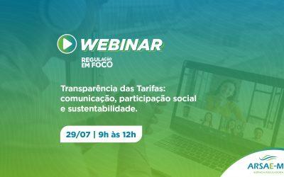 Especialistas discutem composição e transparência das tarifas de água e esgoto em webinar da Arsae-MG
